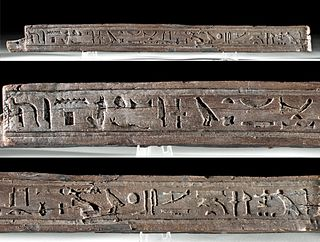 Translated Egyptian Wooden Coffin Panel Fragment