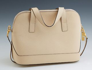 Celine Beige Leather Shoulder Bag, with gold tone zipper opening to a lined interior with dual side pouches, one open, one with a zi...