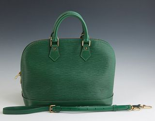 Louis Vuitton Green Epi Electric Leather Alma BB, with gold tone two-way zipper opening to a green Alcantara lining with a single sl...