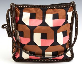 Vintage Prada Satin Handbag, in a geometric pattern with brown leather trim, with a gold tone snap button closure opening to a brown...