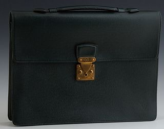 Louis Vuitton Hunter Green Leather Taiga Serviette Briefcase, the brass S-lock hardware opening to a leather and suede lined interio...