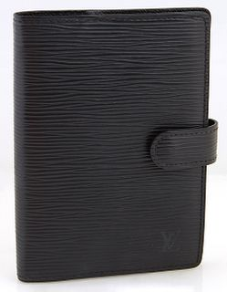 Louis Vuitton Black Epi Leather Small Ring Agenda Cover, with snap button closure opening to a black leather interior with two bill...