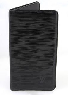 """Louis Vuitton Black Bifold Epi Wallet, with embossed """"LV"""" on the front corner, the interior with four bill holders and six card hold..."""