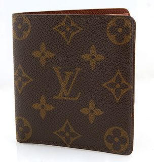 Vintage Louis Vuitton Bifold Wallet, in brown and tan monogram coated canvas, opening to a tonal interior lining with one bill compa...