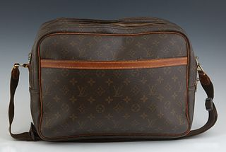 Vintage Louis Vuitton Reporter GM Brown and Tan Monogram Bag, the coated canvas with dual brass zipper closure compartments opening...
