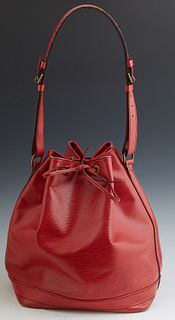 Louis Vuitton Noe GM Red Epi Leather Bucket Bag, with brass hardware, the red leather draw string opening to black lined interior wi...