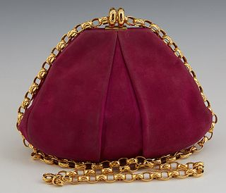 Chanel Magenta Pleated Suede Evening Bag, with gold tone snap closure opening to a black leather lined interior with side zip closur...