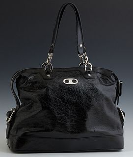 Celine Glossy Black Leather Shoulder Bag, with silver toned zipper opening to a woven chain link Celine design with two side small c...