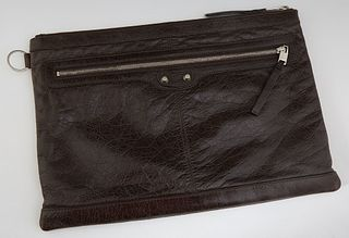 Balenciaga Classic Clip M Leather Clutch, with sliver tone zipper opening to a black linen lined interior with a single open slit po...