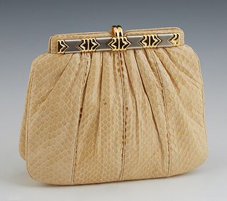 Judith Leiber Ivory Snake Skin Evening Bag, c. 1980, the two-tone snap closure opening to a satin lined interior with two side pocke...