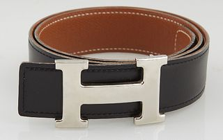 Hermes Constance Black Leather Belt, with silver-tone 'H' buckle and hook closure at front, L.- 31 1/4 in.