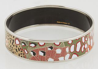 """Hermes Wide Bangle Bracelet, with enamel cheetah print design, stamped """"Hermes, Made in France + O"""" on the interior of the bangle, D..."""