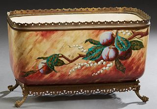 Rare and Unusual Baccarat Porcelain Rectangular Center Bowl or Table Planter, c. 1890, with a gilt bronze rim with scalloped pierced decoration, the s