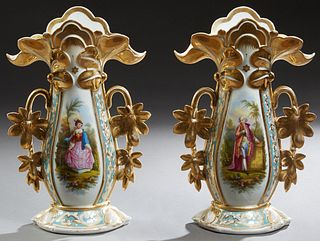 Pair of Old Paris Porcelain Flare Vases, c. 1850, with gilt decoration, the sides with reserves of a man and woman in a garden, the underside marked ""