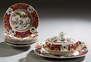 Eight Piece Partial Set of Mason's Ironstone Dinnerware, c. 1840, in the Oriental pattern, consisting of six soup bowls, a covered vegetable dish and