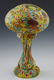 Unusual Millefiori Glass Table Lamp, 20th c., probably Murano, the mushroom shaped shade on a tapered baluster base, wired, H.- 14 1/2 in., Dia.- 8 in