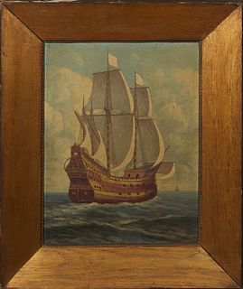 "German School, ""Galleon on the Sea,"" early 20th c., oil on board, presented in a wide gilt oak frame, H.- 19 in., W.- 14 1/4 in. Provenance: from a co"