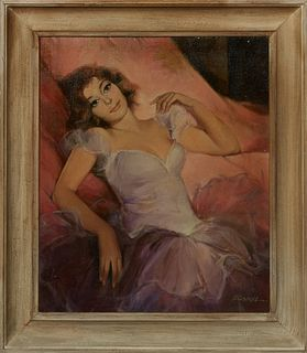 "Hungarian School, ""Portrait of a Reclining Girl,"" 20th c., oil on canvas laid to panel, signed indistinctly, lower right, presented in a wide polychro"