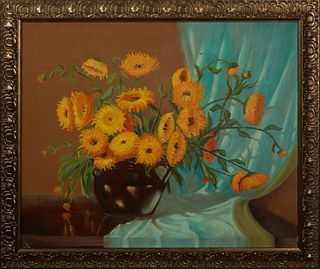 "Thomas L. Lewis (1907-1978, Taos), ""Calendulas,"" 20th c., oil on canvas, signed lower left and placed ""Taos,"" also signed and titled verso, presented"