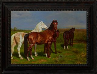 "Alexandre Clarys (1857-1920), ""Horses in a Green Field,"" early 20th c., oil on canvas, signed lower left, presented in an ebonized frame, H.- 19 in.,"