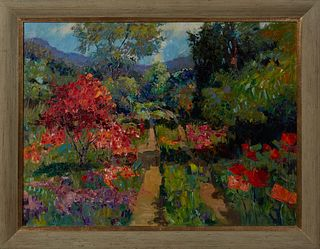 "Louisiana School, ""Brightly Colored Floral Landscape,"" 20th c., oil on canvas, unsigned, presented in a distressed gray wood frame, H.- 29 1/2 in., W."