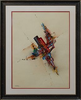 "Leonardo M. Nierman (1932-, Mexican), ""Abstract,"" 20th c., watercolor, signed lower left, presented in an ebonized and gilt frame, H.- 24 in., W.- 18"