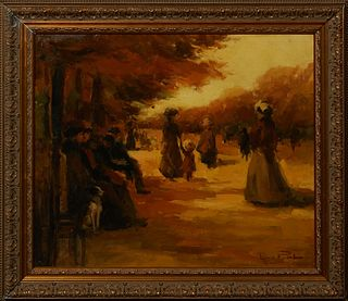 "Louis Van Der Pol (1896-1982, Dutch), ""Autumn Stroll in the Park,"" 20th c., oil on canvas laid to panel, signed lower right, presented in a gilt and g"