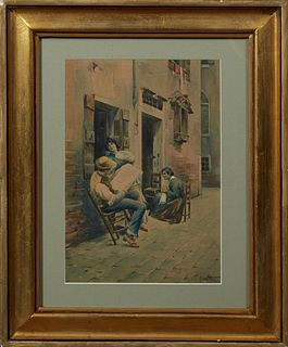 "Napoleone Girotto (Italian), ""Continental Sidewalk Scene,"" 19th c., watercolor, signed lower right, presented in a bright gilt frame, H.- 11 1/2 in.,"