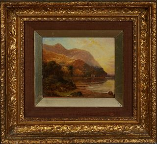 "R. Moore (Probably Rubens Arthur Moore, 1881-1920), ""Lake Scene,"" 19th c., oil on panel, signed lower left, presented in a period gilt and gesso frame"