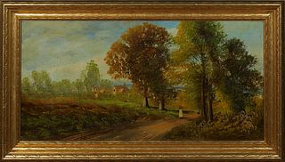 "English School, ""Figure on a Country Road,"" early 20th c., oil on canvas, presented in a carved giltwood frame, H.- 11 1/2 in., W.- 23 3/4 in. Provena"