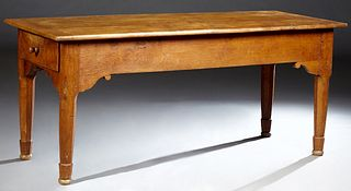 French Provincial Carved Elm Farmhouse Table, 19th c., with two large end drawers, on a scrolled skirt on tapered octagonal legs, H.- 30 3/4 in., W.-