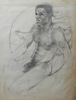"""George Valentine Dureau (1930-2014, New Orleans), """"Nude Afro-American Man with Putto on his Shoulder,"""" 20th c., charcoal, unsigned, shrink wrapped, H."""