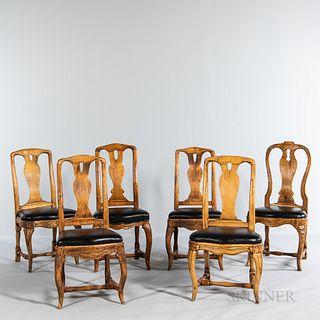 Six Swedish Rococo Carved Pine Side Chairs