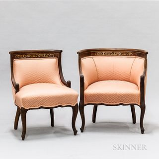 Two Edwardian Inlaid and Upholstered Mahogany Barrel-back Chairs