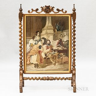 Rococo Revival Carved and Needlepoint-upholstered Walnut Firescreen