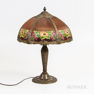 Metal Overlay and Reverse-painted Glass Table Lamp