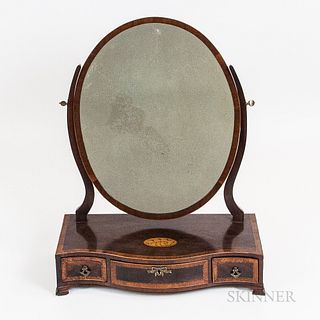 Federal-style Inlaid Mahogany Serpentine-front Dressing Mirror