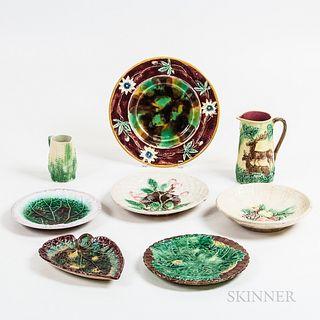Eight Majolica Ceramic Tableware Items