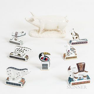 """Seven Wedgwood """"Noah's Ark Collection"""" Porcelain Animals and a Queen's Ware Pig"""