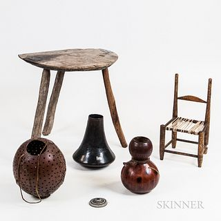 Primitive Milking Stool, Three Carved Gourds, and a Child's Chair