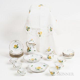 "Twenty-three-piece Meissen ""Yellow Rose"" Porcelain Tea Set and a Matching Tablecloth."