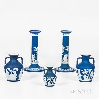 Five Wedgwood Dark Blue Jasper Dip Tableware Items