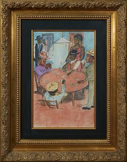 """Wayne Jones (American), """"Afro-American Card Game,"""" 1990, pastel, signed and dated lower right, presented in a gilt relief frame, H.- 16 in., W.- 10 in"""