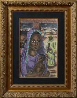 """Wayne Jones (American), """"Afro-American Nativity Scene,"""" 1994, pastel, signed and dated lower right, presented in a gilt relief frame, H.- 16 in., W.-"""