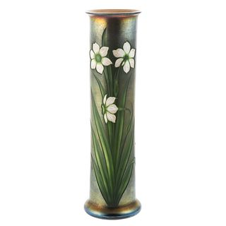 Tiffany Favrile Intaglio Cylinder Glass Vase