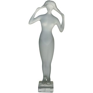 "Tall Lalique Crystal ""Isis Muse"" Figurine"