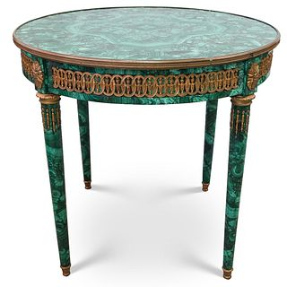 Imperial Malachite and Bronze Table