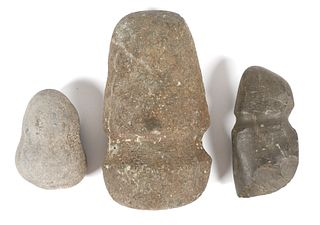 (3) INDIAN Native American Carved Stone Tools
