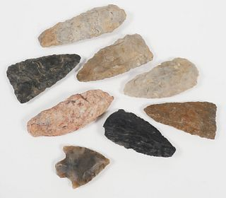 (8) Native American Indian Arrowhead Artifacts