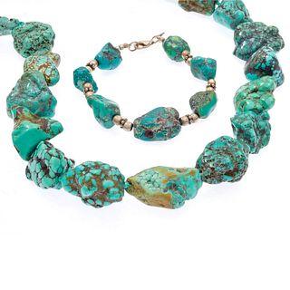 Tumbled Turquoise Necklace and Bracelet